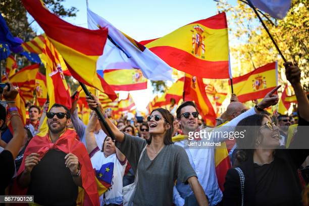 Thousands of prounity protesters gather in Barcelona two days after the Catalan parliament voted to split from Spain on October 29 2017 in Barcelona...