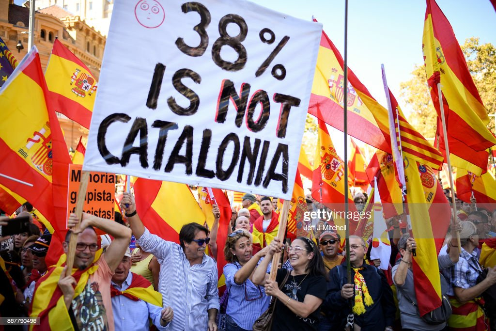 Thousands of pro-unity protesters gather in Barcelona, two days after the Catalan parliament voted to split from Spainon October 29, 2017 in Barcelona, Spain. The Spanish government has responded by imposing direct rule and dissolving the Catalan parliament.