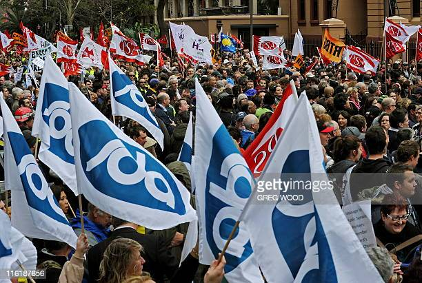 Thousands of public sector workers hold a mass protest in Sydney's Macquarie Street outside the New South Wales state parliament on June 15 2011...