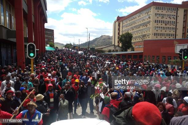 Thousands of Public Servants and teachers march through the streets of Mbabane during a protest to call for a pay raise on September 25, 2019 in...