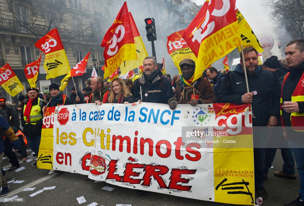 Demonstration by SNCF Railway Workers in France