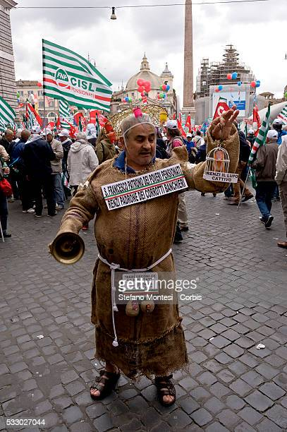 Thousands of retired people gather in Piazza del Popolo to protest against the Fornero pension reform law and to ask social justice solidarity and...