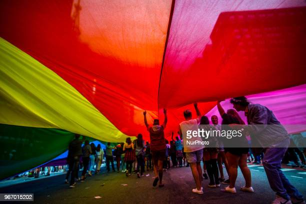 Thousands of revellers celebrate at the Gay Pride Parade at Paulista Avenue on Sunday June 3 2018
