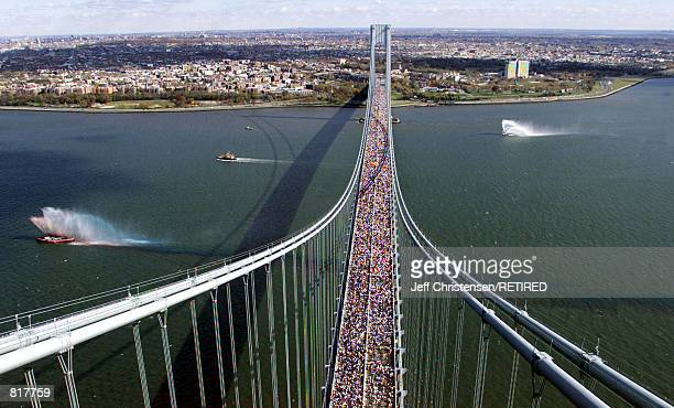 Thousands of runners cross the VerrazanoNarrows bridge at the start of the New York City Marathon November 7 1999 Over 30000 men and women run in the...