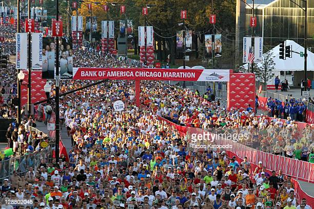 Thousands of runners participate in the Bank of America Chicago Marathon on October 9 2011 in Chicago Illinois