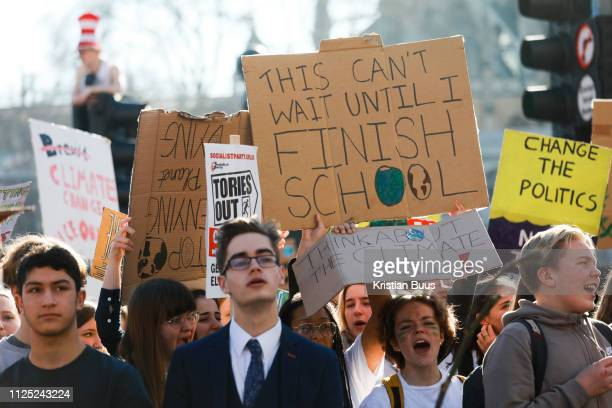 Thousands of school children went on strike and did not go to school demanding climate change action in central London March 15th 2019 Central London...