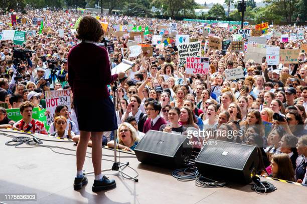 Thousands of school students and protesters gather in The Domain ahead of a climate strike rally on September 20, 2019 in Sydney, Australia. Rallies...