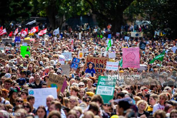 Thousands of school students and protesters gather in The Domain ahead of a climate strike rally on September 20 2019 in Sydney Australia Rallies...