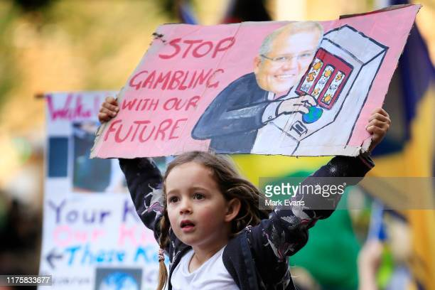 Thousands of school students join protesters in a Climate strike rally on September 20, 2019 in Sydney, Australia. Rallies held across Australia are...