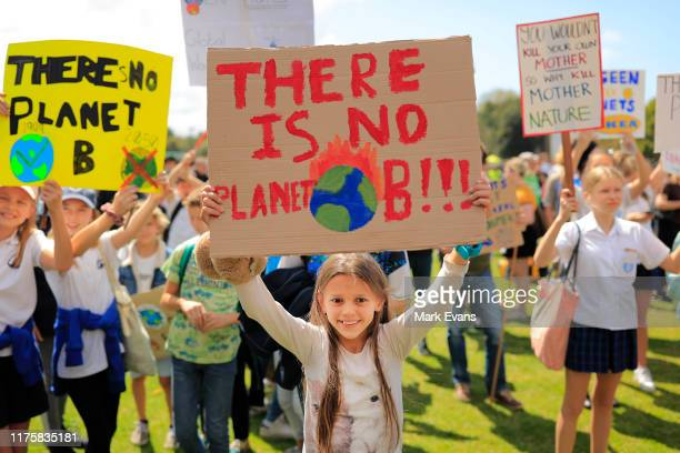 Thousands of school students join protesters in a Climate strike rally on September 20 2019 in Sydney Australia Rallies held across Australia are...