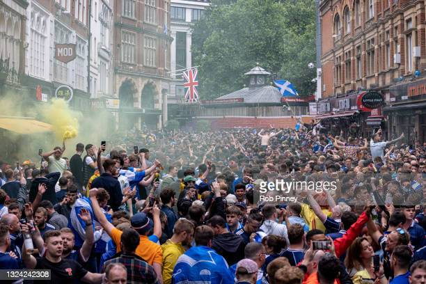 Thousands of Scotland fans gather in Leicester Square ahead of the England v Scotland game at Euro 2020 on June 18, 2021 in London, England. England...