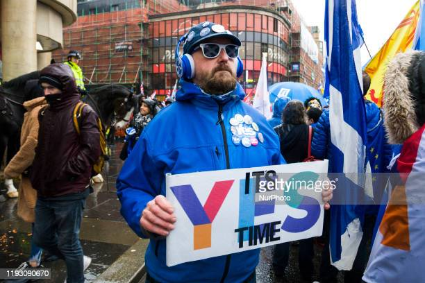 Thousands of Scottish independence supporters march through Glasgow during an All Under One Banner march on January 11, 2020 in Glasgow, Scotland....