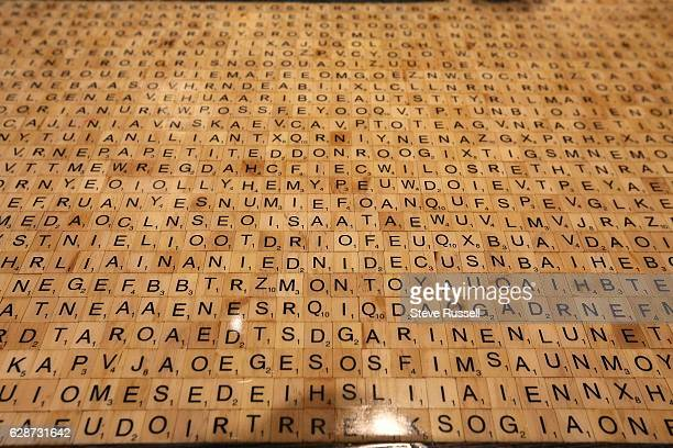 TORONTO ON NOVEMBER 29 Thousands of scrabble tiles make up the entire bar hidden in the tiles are the names of 55 literary characters Marlene Thorne...