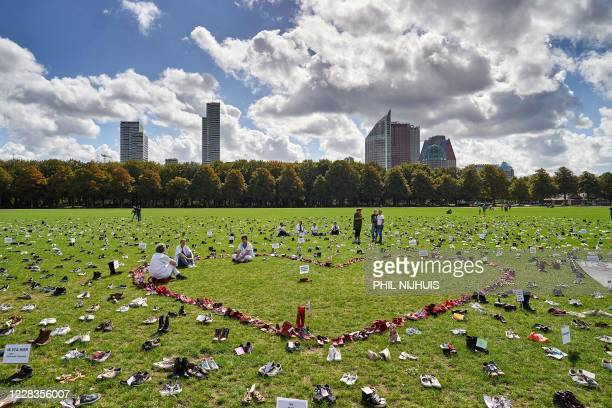 Thousands of shoes are laid out to mark National Care Action Day in the Malieveld park in The Hague on September 5 2020 / Netherlands OUT /...