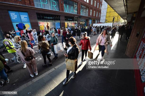 Thousands of shoppers wait for Primark to open for the first time since the latest lockdown on April 30, 2021 in Belfast, Northern Ireland. Non...