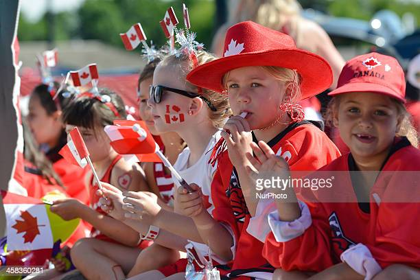 Thousands of smiling faces lined the 2 km parade route through the heart of Sherwood Park during the Canada Day parade On Friday 1 July 2016 in...