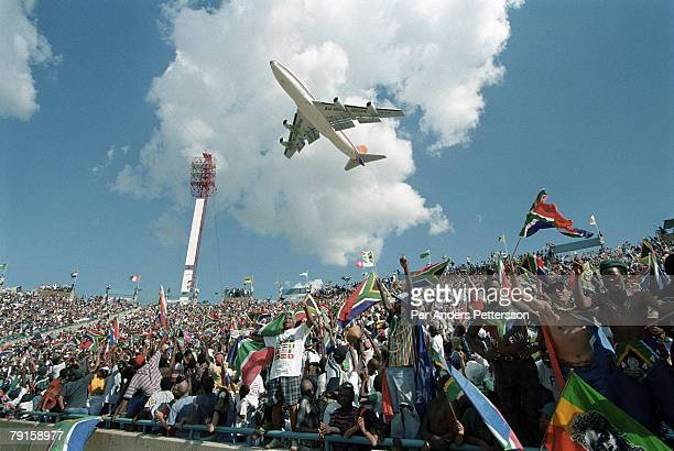 Thousands of soccer fans cheer Bafana Bafana the national team on February 3 1996 in Johannesburg South Africa South Africa played the final in the...