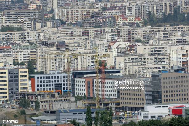 Thousands of socialist built apartment blocks in downtown Sofia compete with newly erected office blocks for space on September 7 in Sofia Bulgaria...