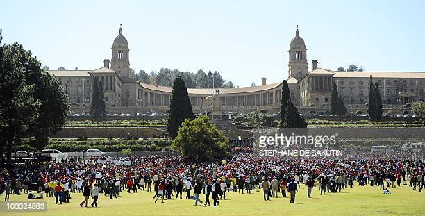 Thousands of South African civil servants march through Pretoria on August 10 2010 on a oneday strike to press for better salaries as union leaders...