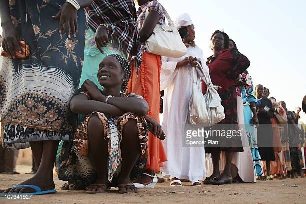 Thousands of southern Sudanese lineup to vote during the first day of voting for the independence referendum in the southern Sudanese city of Juba...