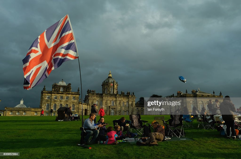 Thousands of spectators attend the annual Castle Howard Proms Spectacular concert held on the grounds of the Castle Howard estate on August 19, 2017 in York, England. The outdoor picnic concert celebrated the best of British with a rousing medley of traditional orchestral anthems from the London Gala Orchestra conducted by Stephen Ellery and special guest performances from Brit award winners Blake and soprano Joanne Forest.