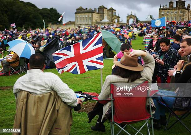 Thousands of spectators attend the annual classical Proms Spectacular concert held on the north lawn of Castle Howard on August 20 2016 in York...