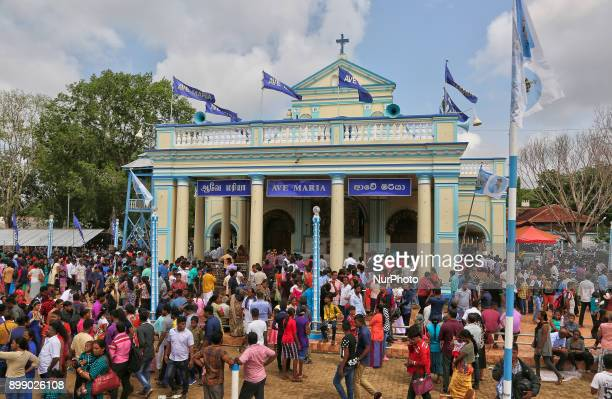Thousands of Sri Lankan Catholic pilgrims take part in the Feast of Our Lady of Madhu at the Shrine of Our Lady of Madhu in Mannar Sri Lanka With a...