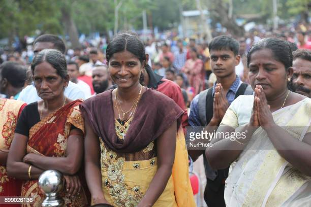 Thousands of Sri Lankan Catholics pray at the Shrine of Our Lady of Madhu during the Feast of Our Lady of Madhu in Mannar Sri Lanka With a history of...