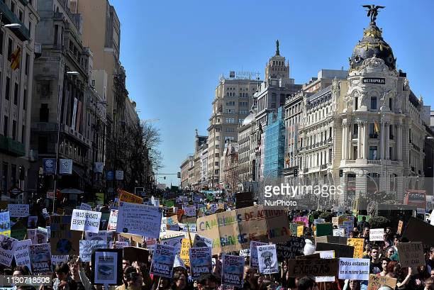 Thousands of students are demonstrating to urge leaders to make the fight against climate change a priority in Madrid on 15th March 2019