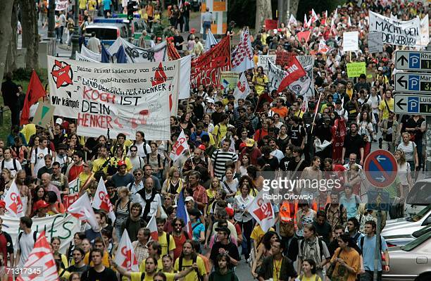 Thousands of students protest the implementation of tuition fees on June 28 2006 in Wiesbaden Germany Several German states have plans to begin...