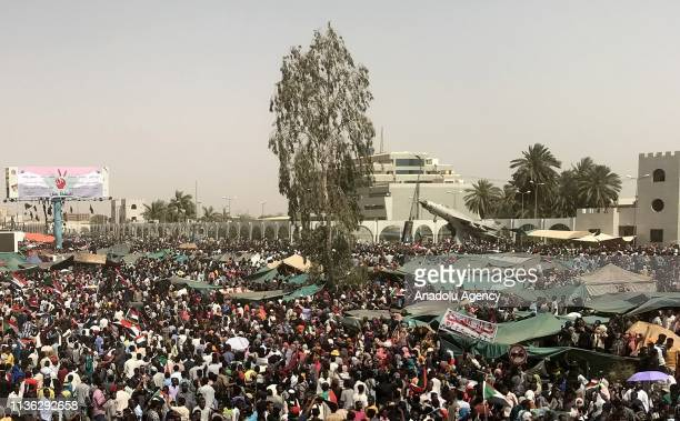 Thousands of Sudanese demonstrators continue demonstrations outside the military headquarters in Khartoum Sudan on April 11 2019 The Sudanese...