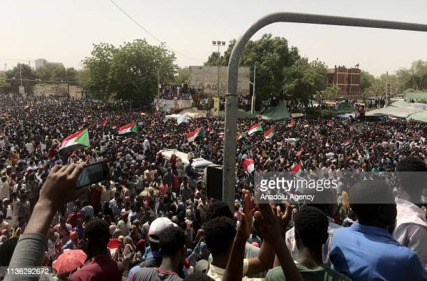 Thousands of Sudanese demonstrators continue demonstrations outside the military headquarters in Khartoum, Sudan on April 11, 2019. The Sudanese...