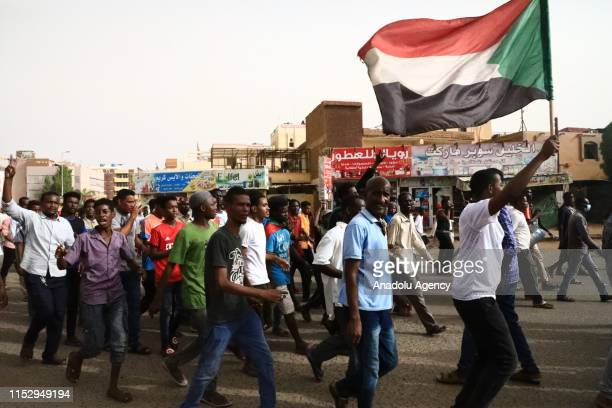 Thousands of Sudanese protesters, take part in a march towards Defence Ministry after the call from Sudanese Professionals Association and Alliance...