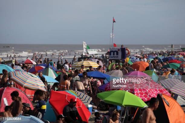 Thousands of summer tourists on the coast of Argentina in San Bernardo Argentina on 14 January 2020