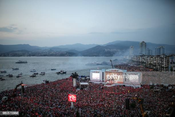 Thousands of supporters gathered to listen to Muharrem Ince the leader and presidential candidate of Turkey's main opposition party the Republican...