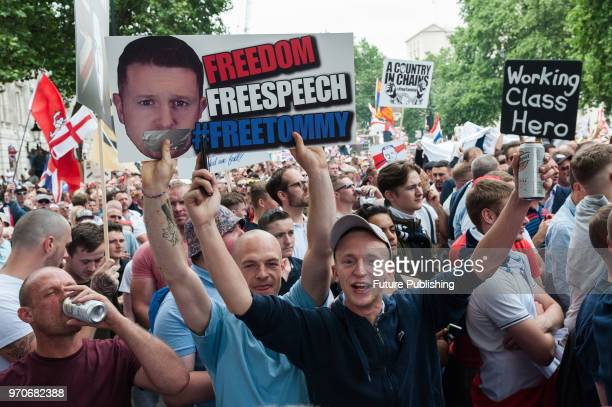 Thousands of supporters of farright activist and former English Defence League leader Tommy Robinson stage a protest outside Downing Street in...