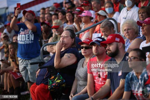 """Thousands of supporters of former U.S. President Donald Trump listen to local and state politicians speak during a """"Save America"""" rally at York..."""
