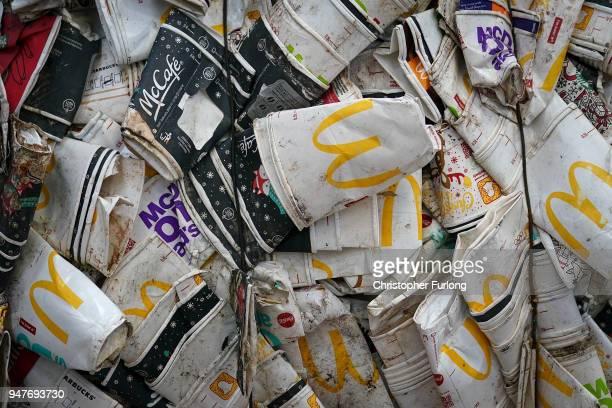 Thousands of takeaway coffee cups wait to be recycled at James Cropper recycling plant on April 17 2018 in Kendal England Master papermaker James...