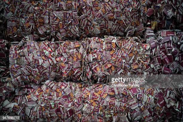Thousands of take-away coffee cups wait to be recycled at James Cropper recycling plant on April 17, 2018 in Kendal, England. Master papermaker James...