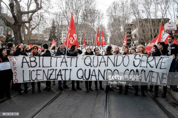 Thousands of teachers held a protest action outside the Ministry of Education Universities and Research in Rome Italy About 43000 teachers were...