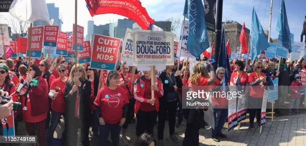 Thousands of teachers students and parents held a massive rally at Queens Park to protest planned education cuts by Premier Doug Ford and the Ontario...