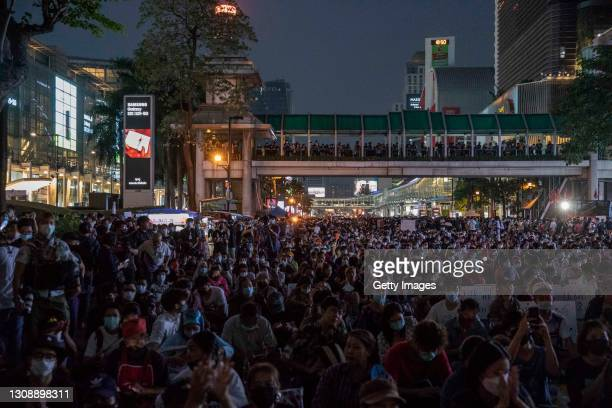 Thousands of Thai pro-democracy protesters rally at the Ratchaprasong Intersection on March 24, 2021 in Bangkok, Thailand. The United Front of...