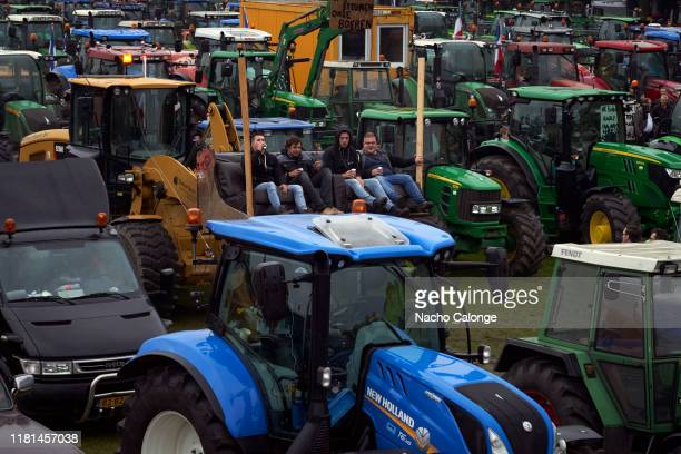 Thousands of tractors arrived in the city of The Hague as a sign of pressure on the government on October 16 2019 in The Hague Netherlands A...