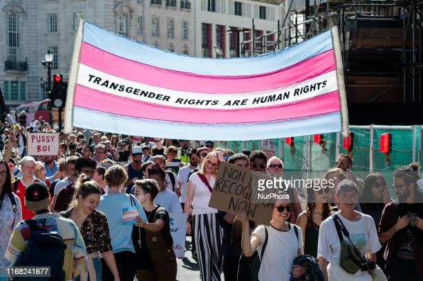Thousands of transgender people and their supporters take part in London's first ever Trans Pride march through the streets of British capital on 14...