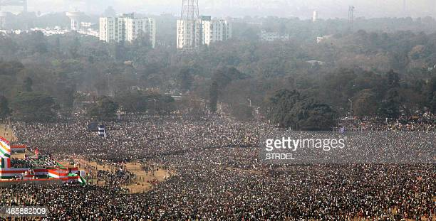 Thousands of Trinamool Congress supporters gather as they listen to a speech by India's West Bengal state Chief Minister and Trinamool Congress chief...