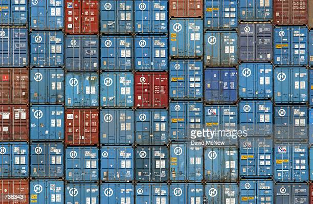 Thousands of trucksized 30ton shipping containers are stacked aboard the Hanjin Oslo freighter in the Port of Los Angeles March 29 2002 in Los...