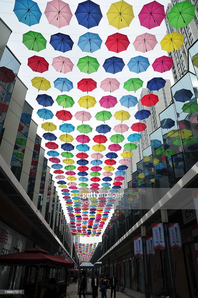 Thousands of umbrellas hung across a shopping street on December 25, 2012 in Fuzhou, China.