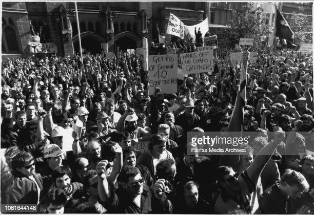 Thousands of Union members demonstration against changes of workers compensation laws gathering outside Parliament house today June 071989
