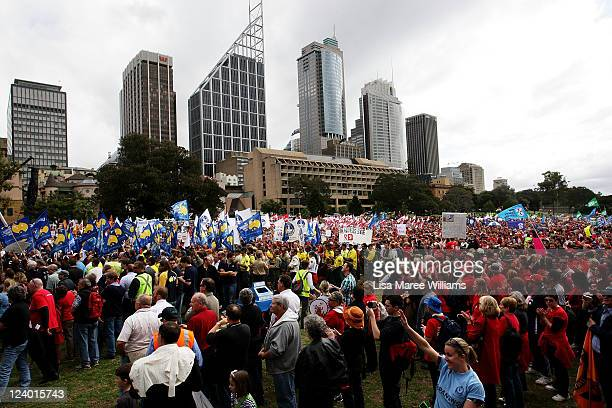 Thousands of union workers and their families gather at the Domain in protest of the public sector wage gap and job cuts on September 8 2011 in...