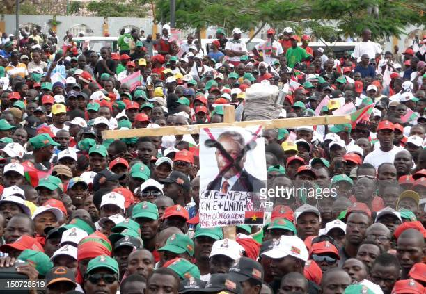Thousands of Unita's activists gather in the center of Luanda on August 25 2012 to ask for free and fair elections Angola's main opposition party...